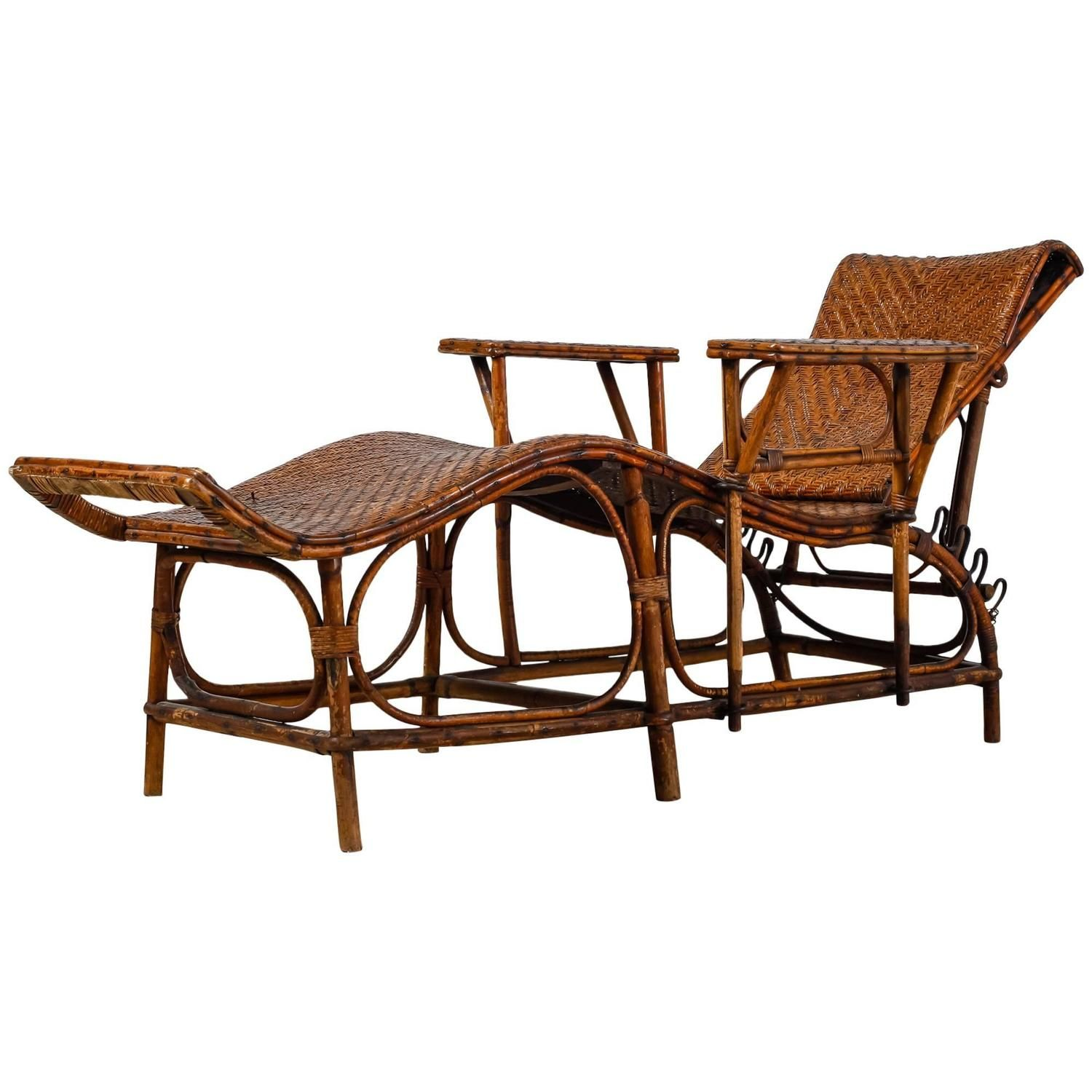 Adjustable Bamboo And Rattan Garden Chaise, Germany, 1920s 1930s | From A  Unique Collection Of Antique And Modern Chaise Longues At ...