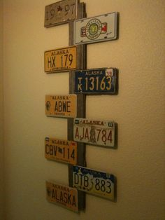 My New Creation Using Alaska License Plates And An Old Iowa Barn Board License Plate Decor License Plate Crafts Plate Decor