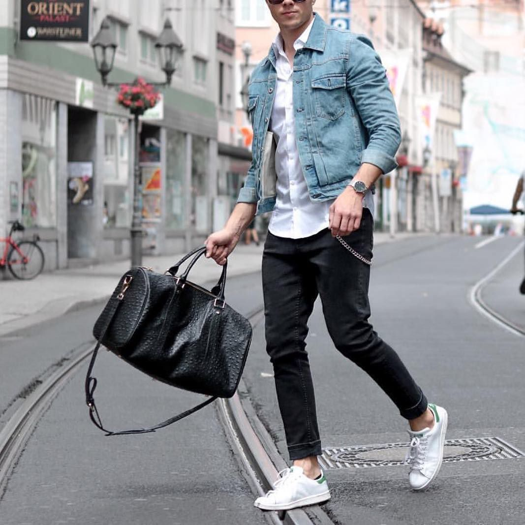 Denim Jacket White Shirt Adidas Stansmith Sneakers And Bahge Dufflebag By Konstantin Http Ift Tt 1f Mens Casual Outfits Mens Outfits Denim Jacket Men [ 1067 x 1067 Pixel ]