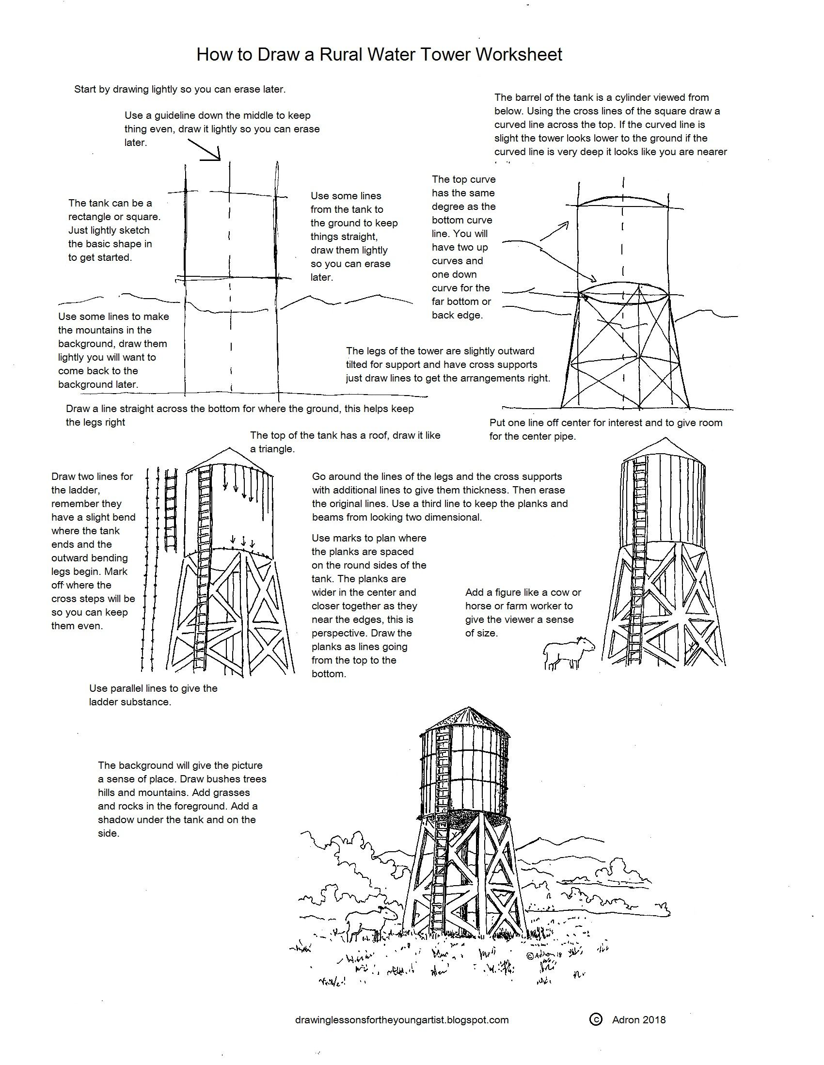 How To Draw A Rural Water Tower Worksheet And Printable