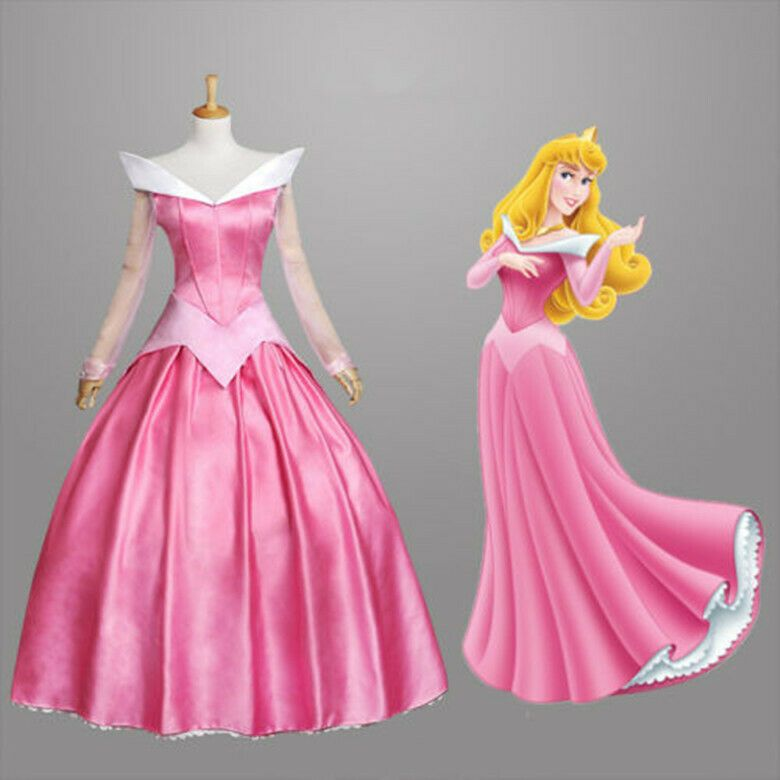 Sleeping Beauty Princess Adult Pink Cosplay Costume Halloween Dress
