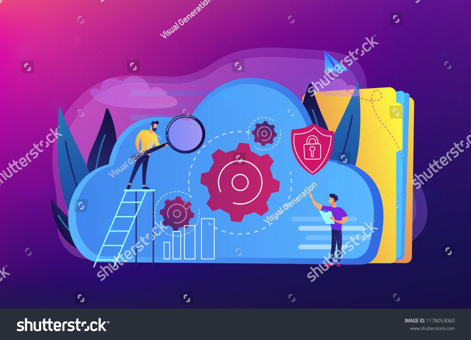 Two Developers Looking At The Gears On The Cloud Digital Data Storage Database Securiry Data Protection Cloud Technology Co Vector Violet Background Clouds