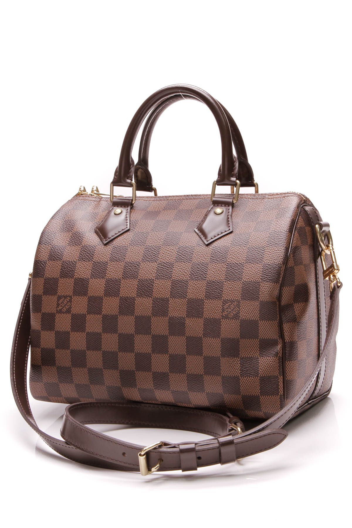 4afae3013b8a Louis Vuitton Speedy 25 Bandouliere Bag - Damier Ebene  795 preloved  fashionphile