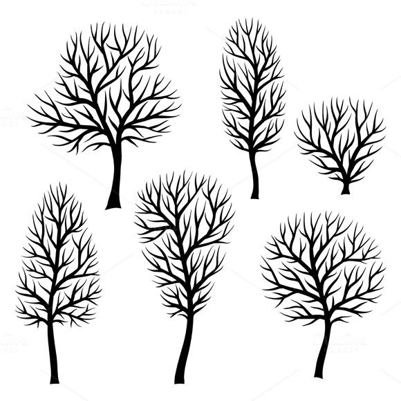 Collection of trees silhouettes  @creativework247