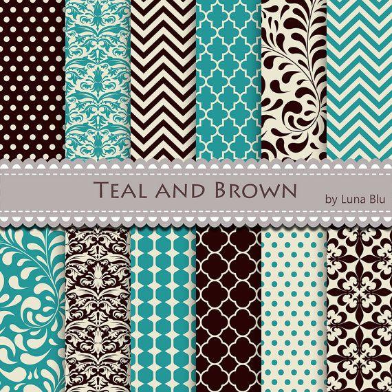 Teal And Brown Digital Paper Teal And Brown Patterns Etsy In 2020 Teal Scrapbook Paper Digital Paper Digital Scrapbook Paper