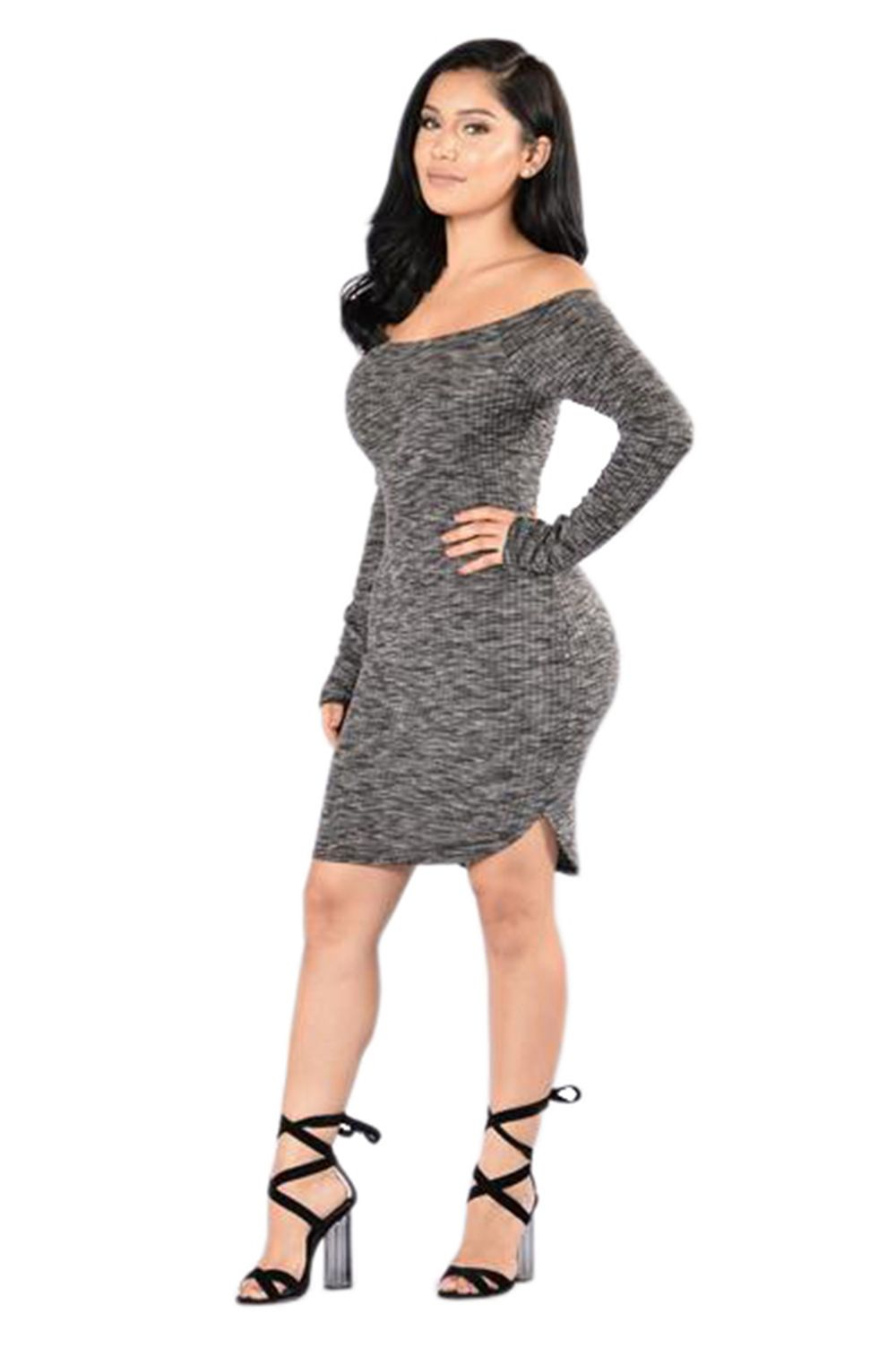 Fashion sexy knitting pure color long sleeve dress dress