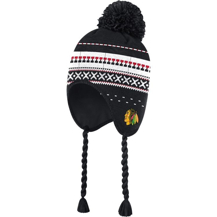 254d3718f8a Reebok Men s 2015 NHL Winter Classic Chicago Blackhawks Tassel Knit Hat