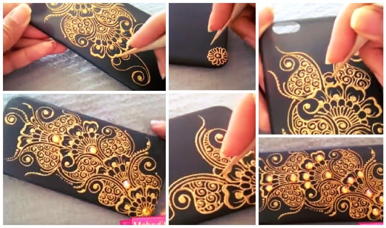 Mehndi Art Simple : How to make mehndi art on phone case simple craft