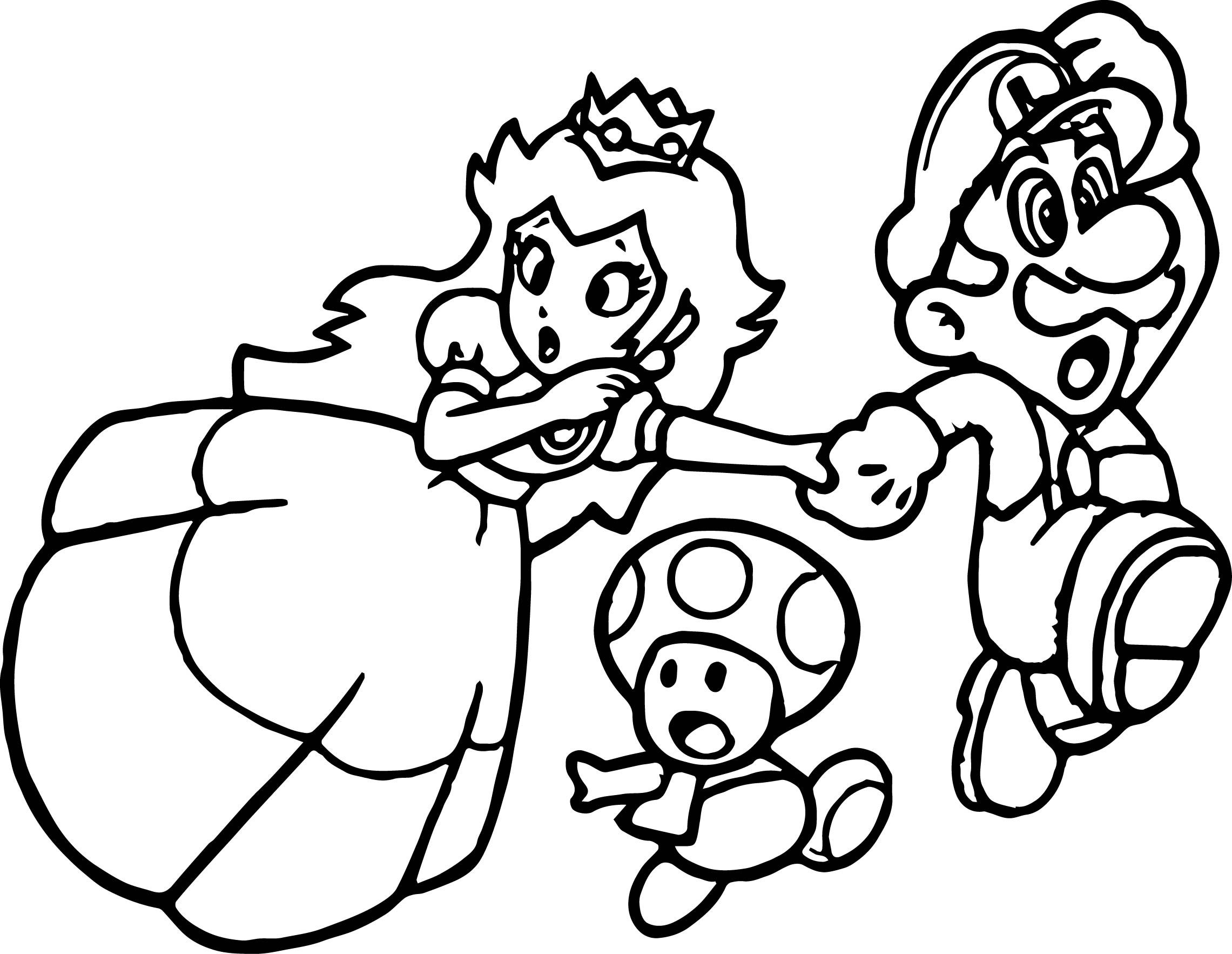 Super Mario Princess Mushroom Coloring Page Super Mario Coloring