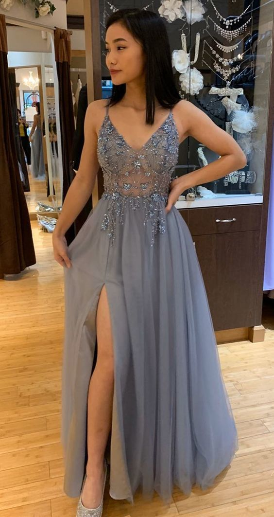 Charming V neck Beaded A Line Long Prom Dress with Slit