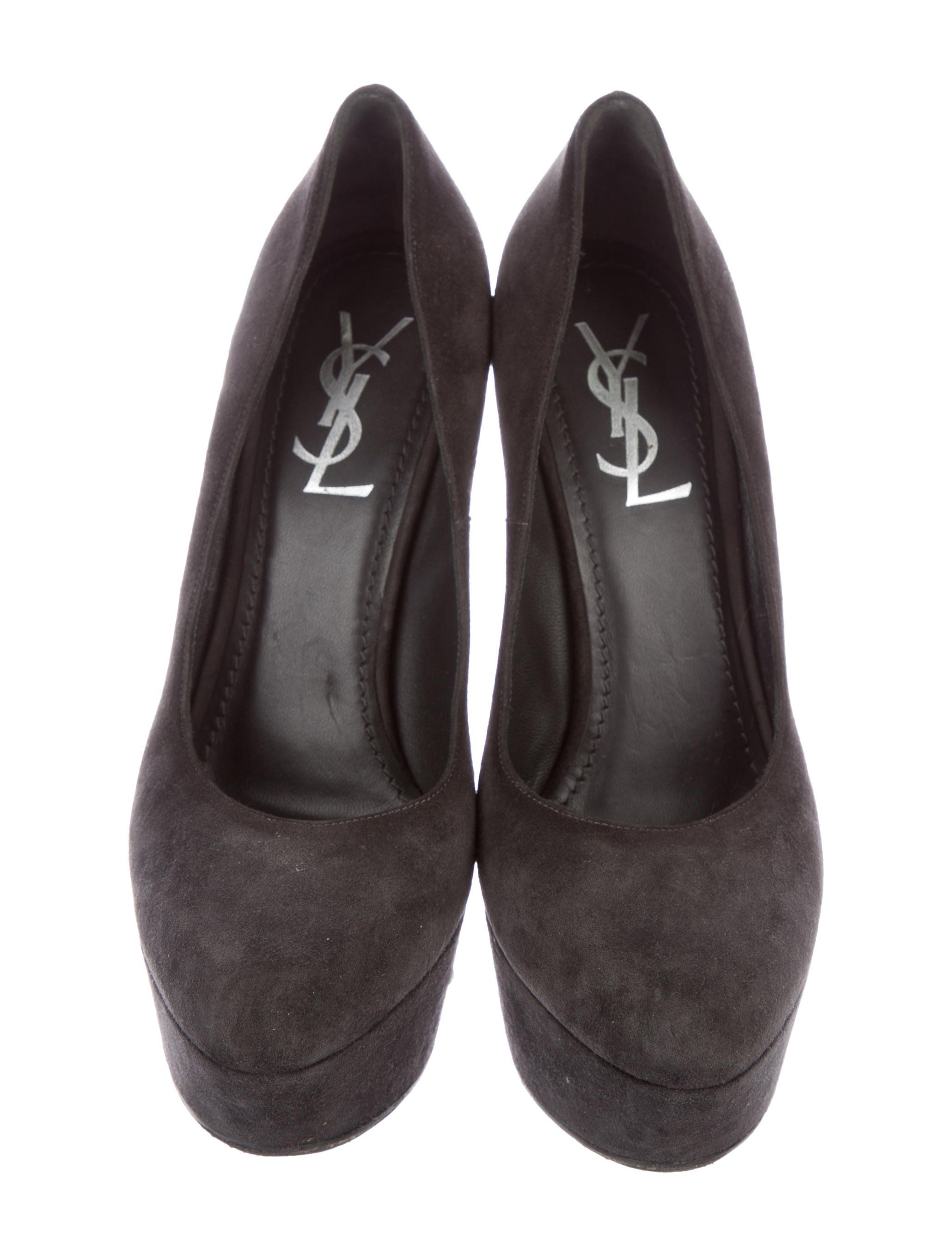 80c3a6710b4 Grey suede Yves Saint Laurent platform pumps with tonal stitching and  covered heels. Suede Platform