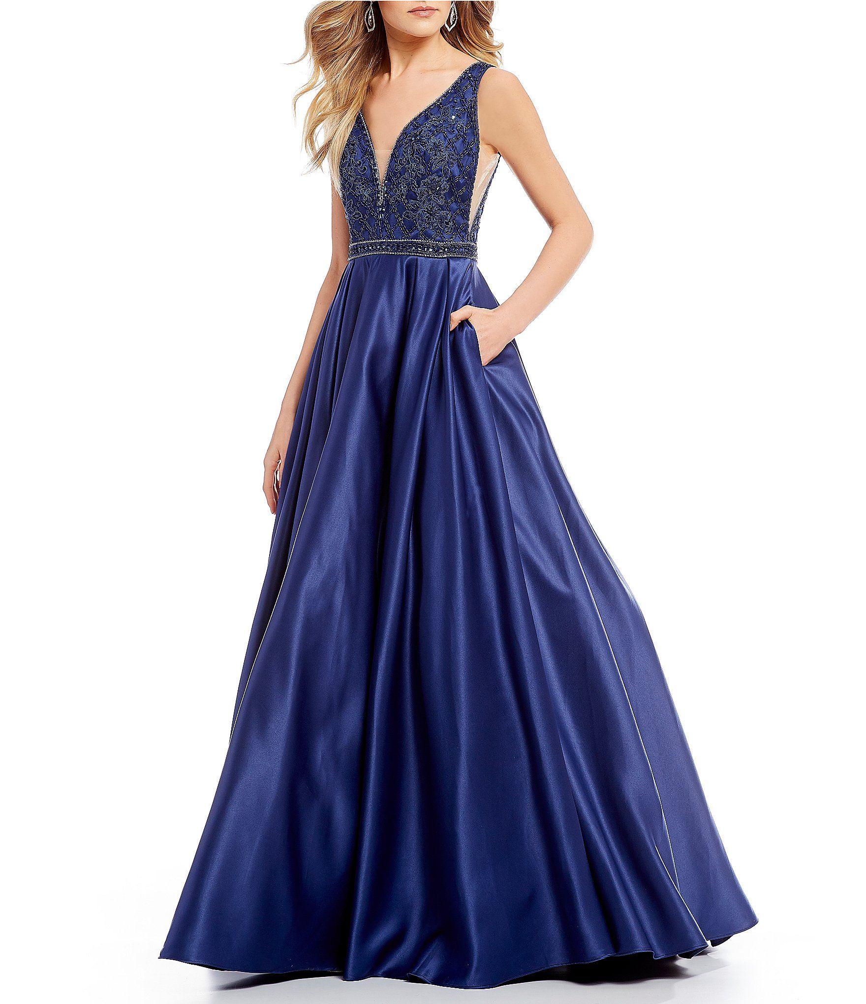 Coya Collection Deep-V Beaded Bodice Ball Gown   Dillards, Ball ...