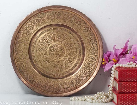 Vintage Moroccan Plate: Wall Hanging Plate, Decorative Brass