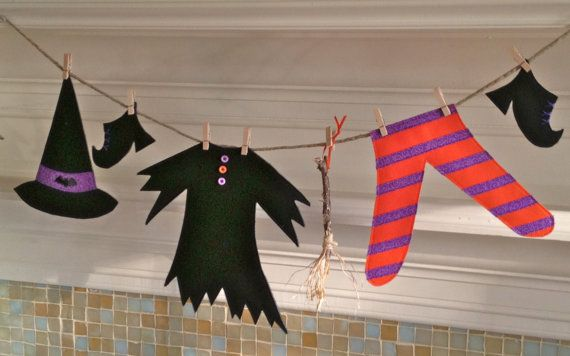 Halloween Decor, Halloween Decoration, Witches Clothesline, Mantel - halloween decorations witch