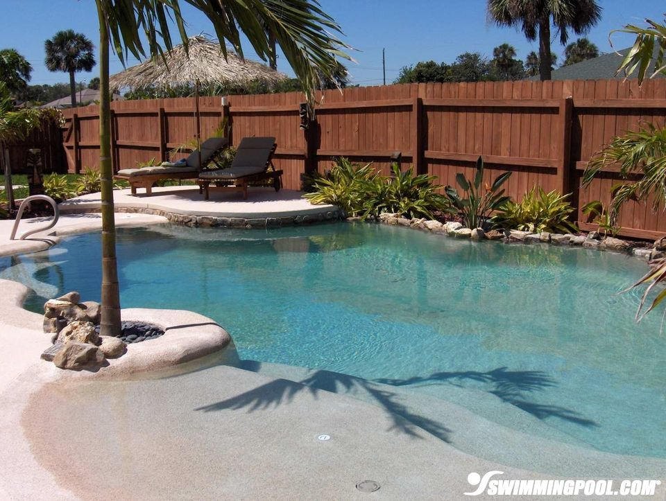 Small Pool With Beach Entry Swimmingpool Com Swimming Pool Landscaping Swimming Pools Backyard Beach Entry Pool