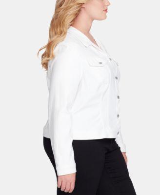 f744e86705 Jessica Simpson Juniors' Pixie Plus Size White Denim Jacket - White 3X