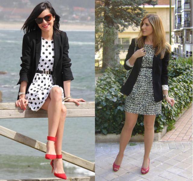 03_combinação de cores_preto branco e vermelho_look de trabalho_moda pra trabalhar_sapato vermelho_vestido de poa_vestido preto e branco_blazer preto