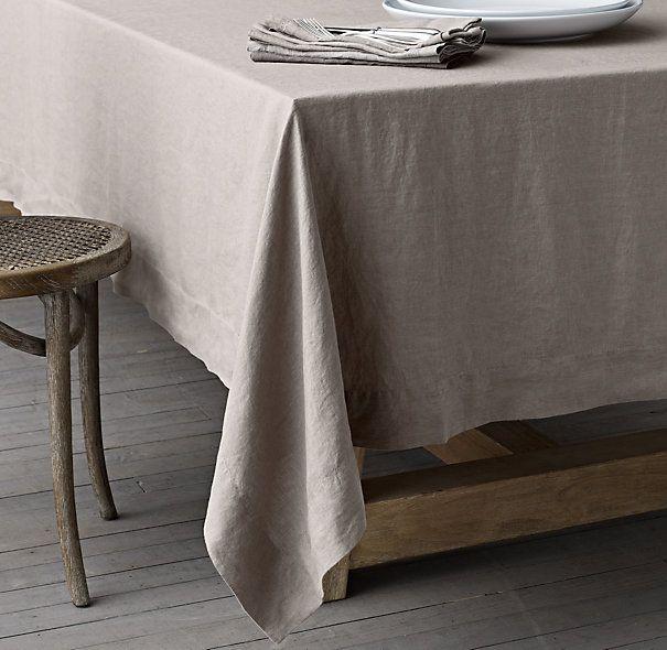 Stonewashed Belgian Linen Tablecloth