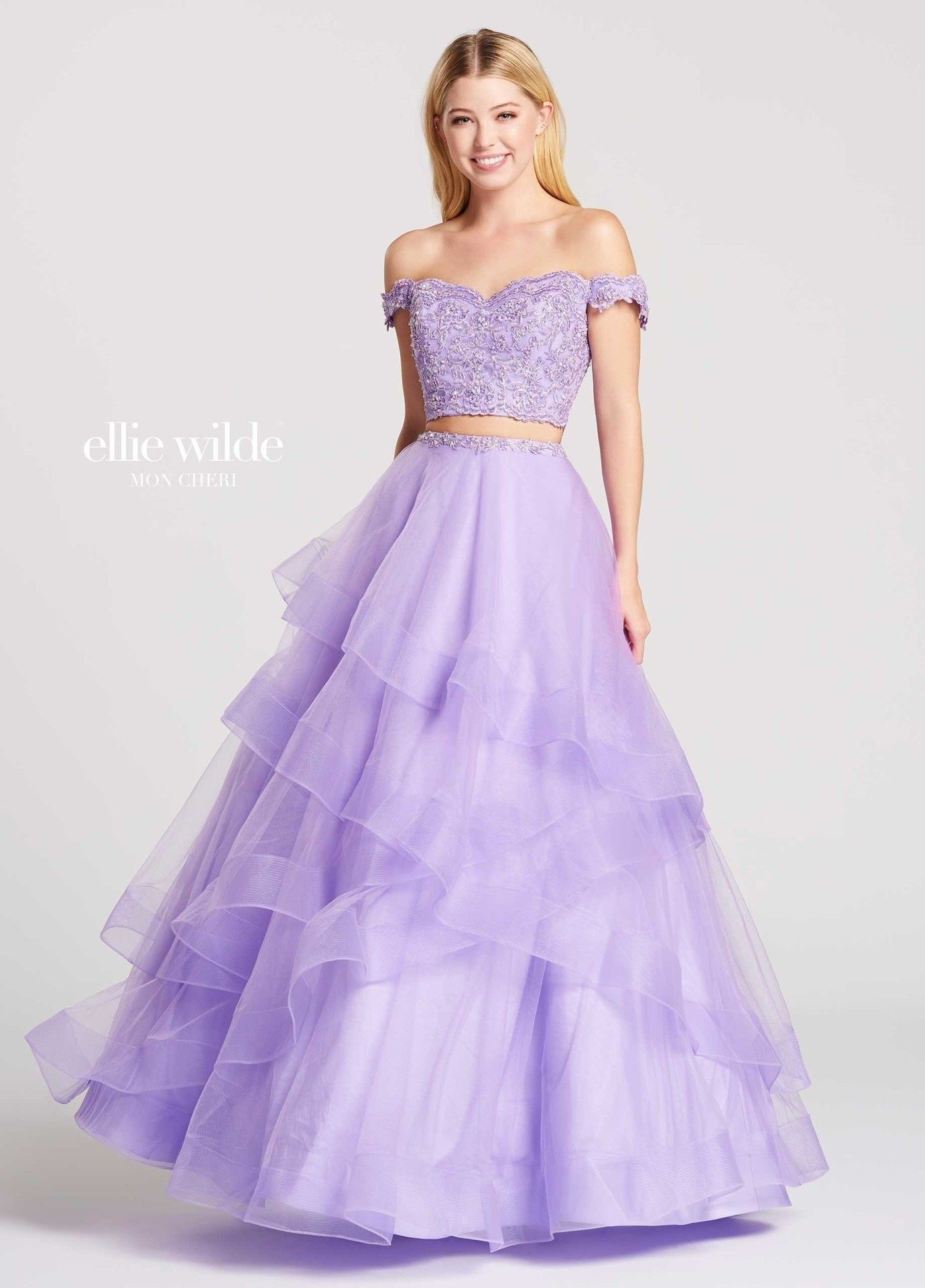 Become The Princess Of Pastels In Ellie Wilde Ew118095 This Sweet Two Piece Ball Gown Includes A Lace Top With A Line Prom Dresses Prom Dresses Gowns Dresses [ 1920 x 1380 Pixel ]