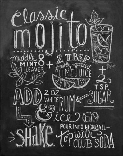 Poster mojito rezept drinks food deko kreide und k chen tafel - Schiefertafel wand ...