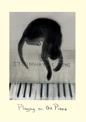 Playing on the Piano - Drawing enhanced in photoshop, by Julian Williams for Noriko Ogawa's (pianist) charity work helping victims of the Great Eastern Japan Earthquake and Tsunami.  Also a card by Two BAd Mice
