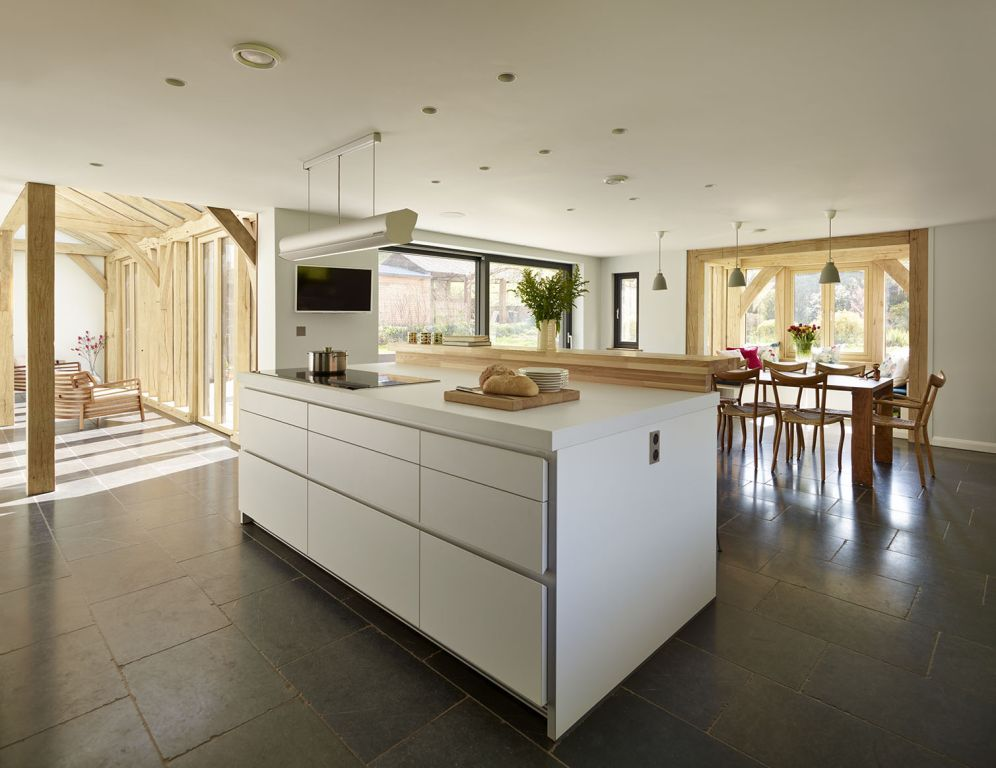 Bulthaup Kitchen Island Part - 16: Green Oak Framed Newbuild - Family Home Complete With Bulthaup Kitchen.  White Handle-less Kitchen With Centre Island. The Dark Grey Flagstone  Flooring Is ...