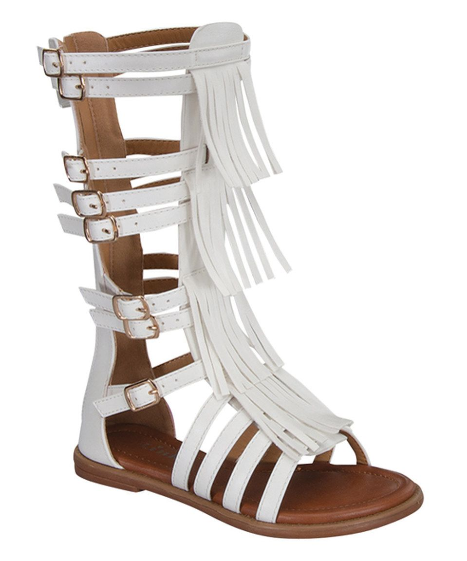 Little Girl//Big Girl bebe Girls Denim Fringe Gladiator Sandals