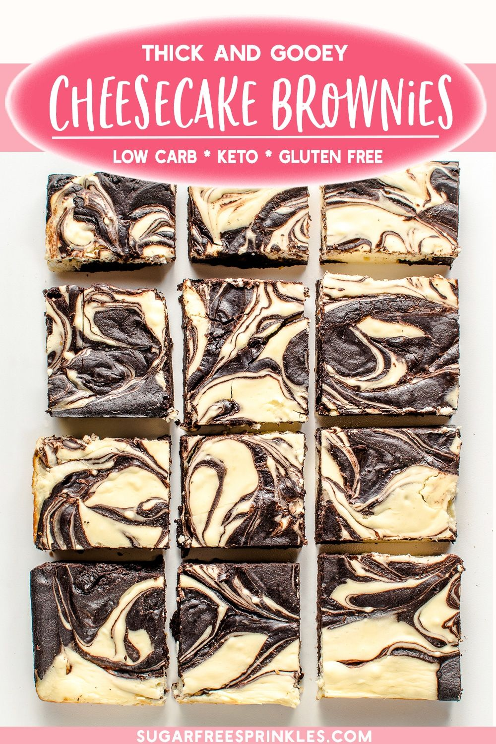 Gooey Keto Cheesecake Brownies (Low Carb & Gluten Free)