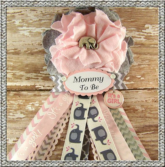 Pink Elephant Mom To Be Corsage Pink And Gray Chevron Girl