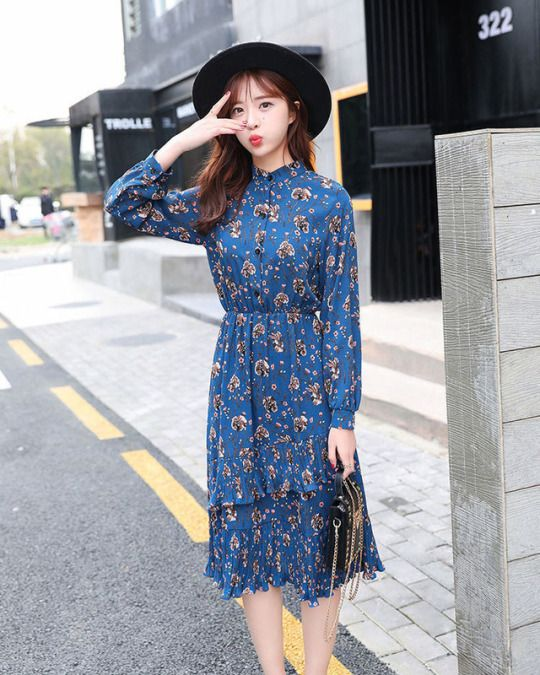 14a64ae5bf057 Floral Print Long Sleeve Chiffon Midi Dress | Korean Fashion in 2019 ...