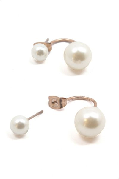 Restock Favorite 4 Last But Not Least Double Pearl Earrings Are A Super Sleek Take On This Years Statement Earring Trend Get Little Crazy And Wear