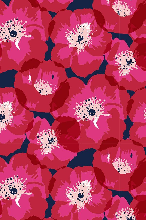 Rote Und Rosa Mohnblumen Auf Indigo Von Jill Byers Diese Bunte Mohnblumenillustration Ist Auf Ge Papel Pintado Flores Dibujos Hermosos Patrones De Papel Tapiz