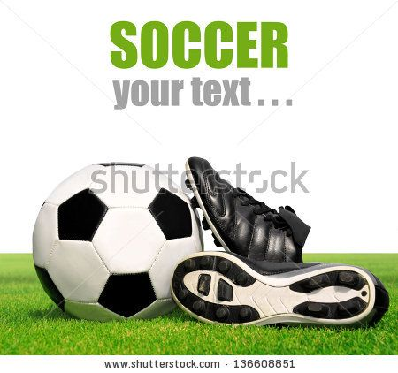 f735a0f10 soccer ball and shoes in grass isolated on white background - stock photo