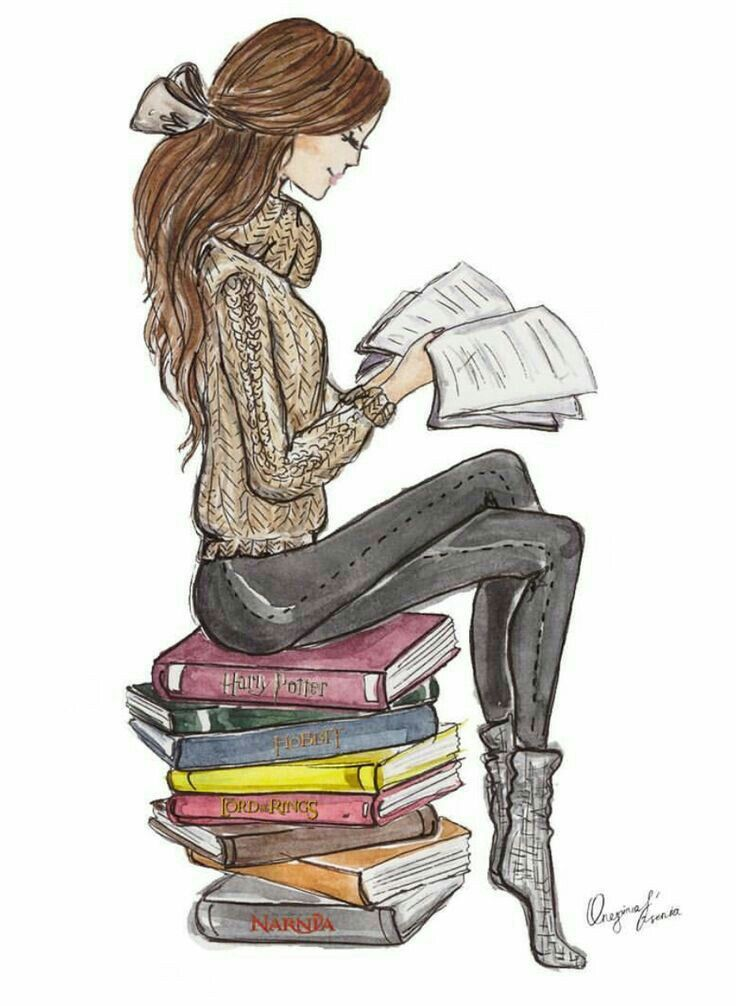 Girl Reading In 2019 Book Drawing Book Art Reading Art