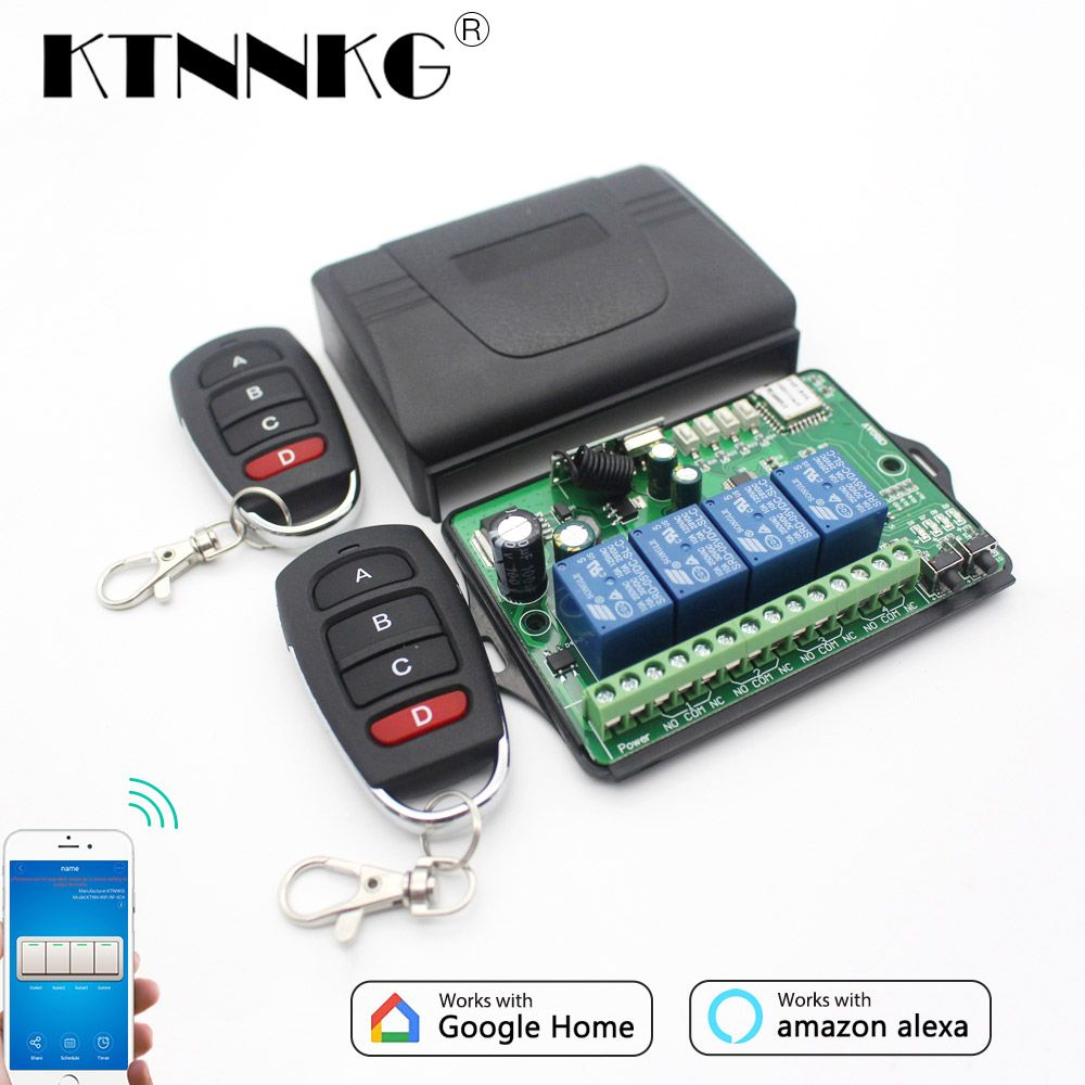 Universe Of Goods Buy Ktnnkg Ac Dc 7v 36v 4ch Wifi Remote Switch Wireless Universal Garage Door Receiver And 2 4 Pcs Ev1527 433m Remote Controls Wifi Remote