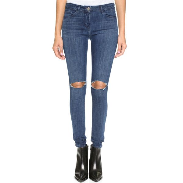 3x1 W2 Busted Knee Skinny Jeans (875 ILS) ❤ liked on Polyvore