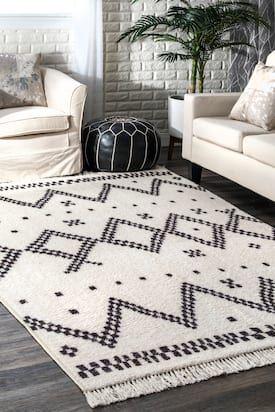 Rugs Usa Off White Reines Checkered Moroccan Tassel Non Slip