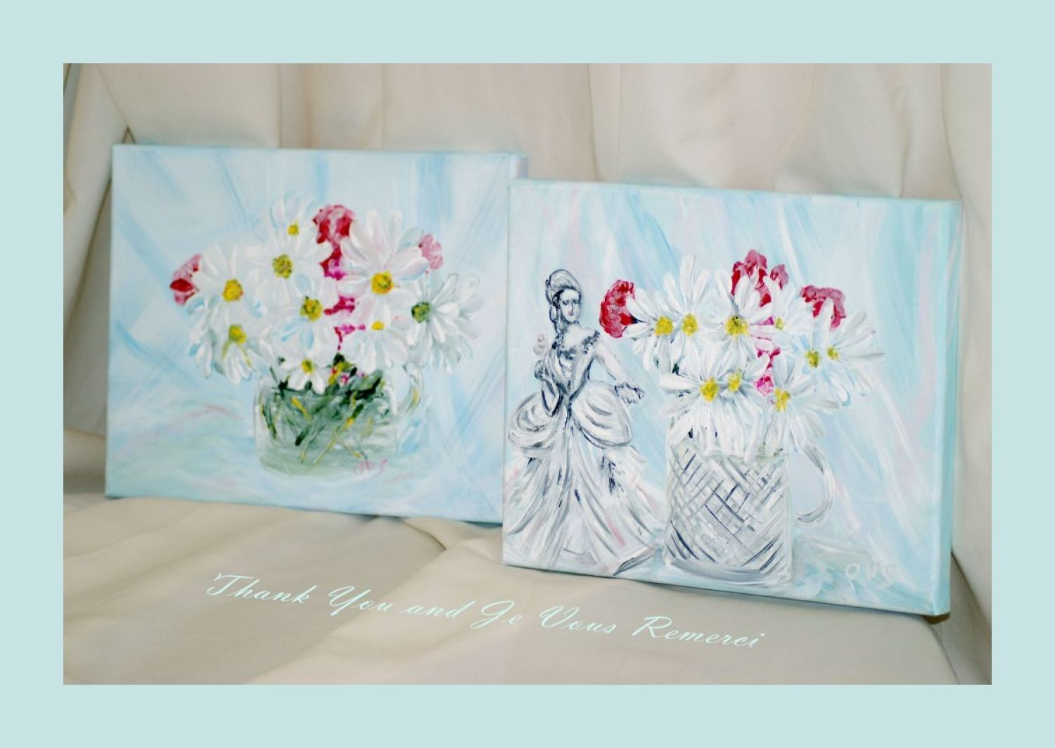 Thank You and Je Vous Remerci . Collection, set of 2 acrylic