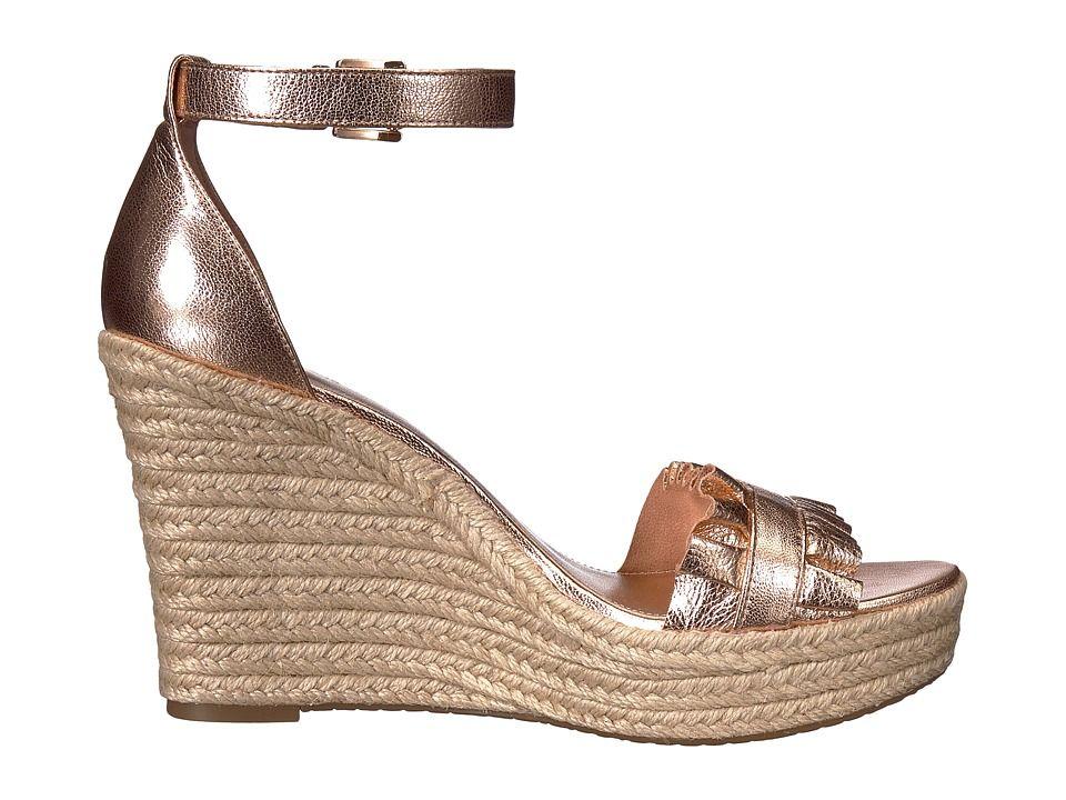 9f69f940cc1 MICHAEL Michael Kors Bella Wedge Sandal Women s Wedge Shoes Soft Pink  Metallic Nappa