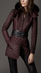 #Burberry - MULTI QUILT FUR COLLAR COAT in elderberry (the season's color!)