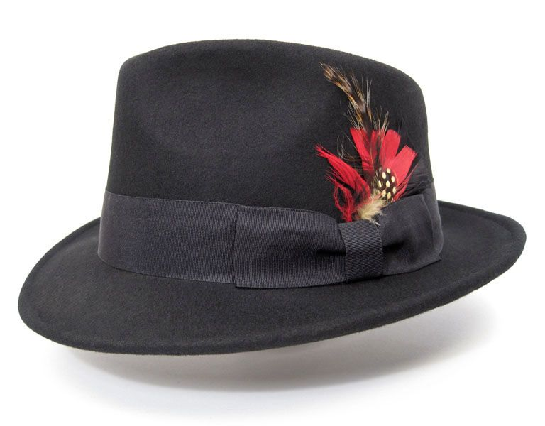9068a948178 FEDORA Feather Gangster hat