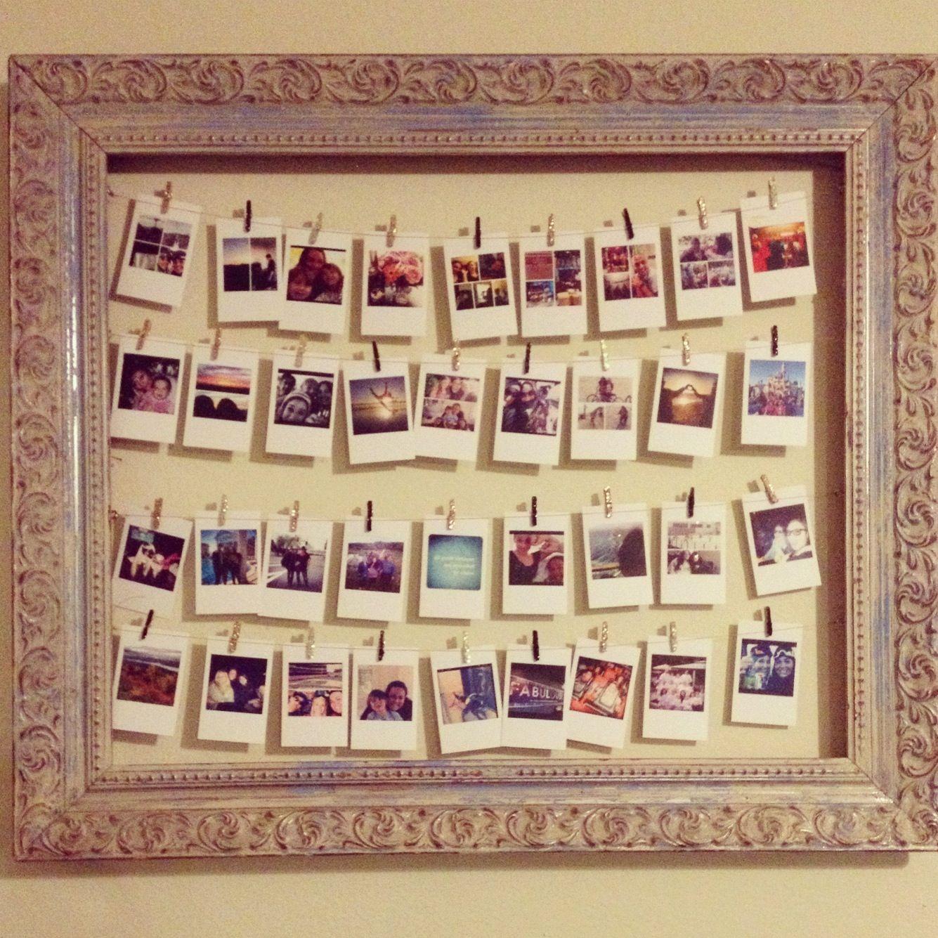 Flea market frame + glitter DIY clothes pins + #prinstagram prints ...