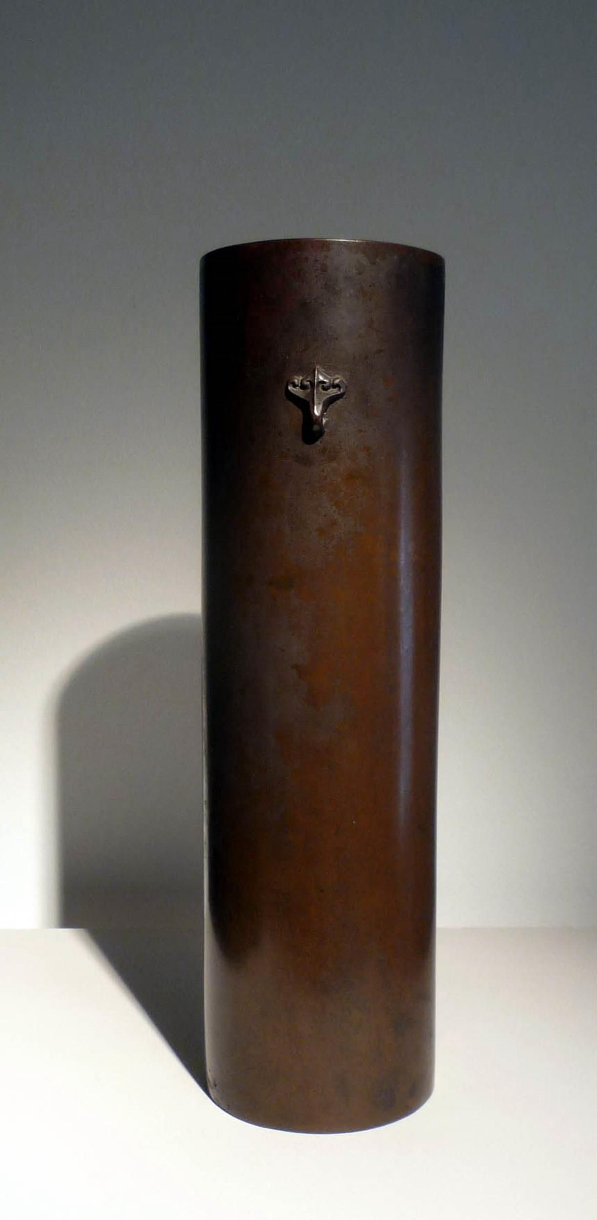 A cylindrical bronze flower vessel.  - Signed: Zoroku.  - Japan 19th century Meiji period