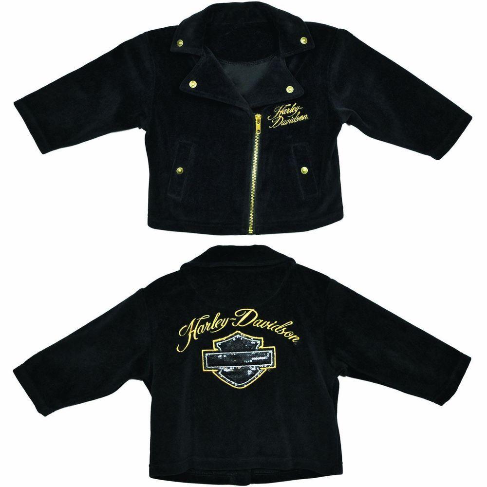 848b13095 Harley-Davidson Baby Girls Velour Motorcycle Jacket - Newborn ...