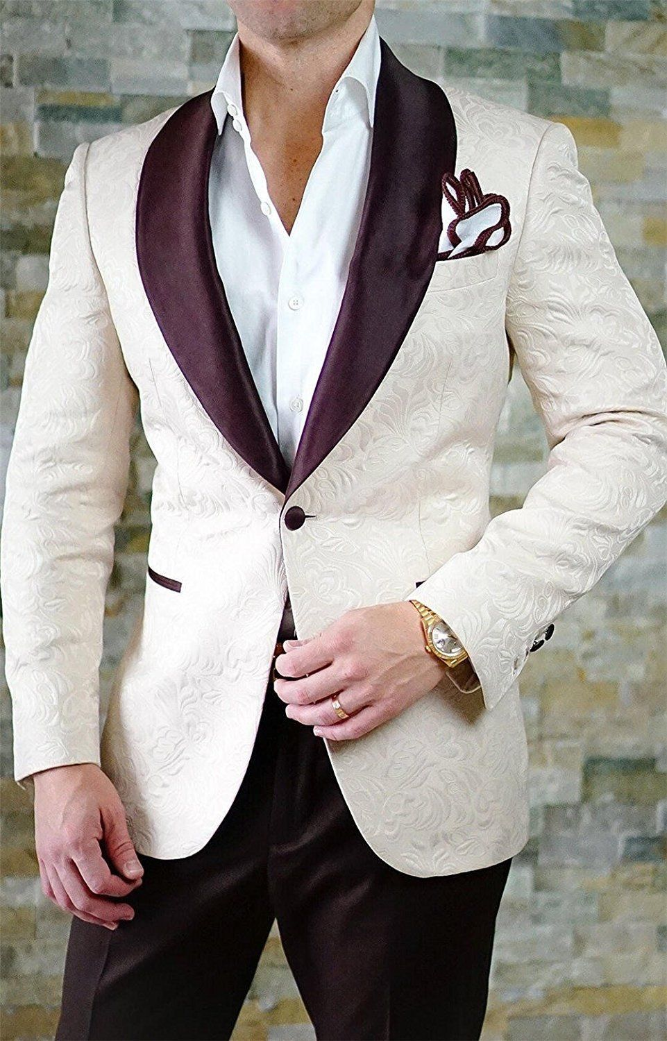 British Style Black Men/'s Suit Double Breasted Jacquard Paisley Wedding Grooms