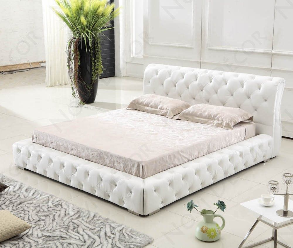 B9041 Modern White Queen Leather Bed By Tosh Furniture