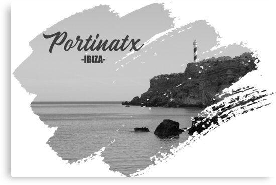 Lienzo de Portinatx en Ibiza en blanco y negro