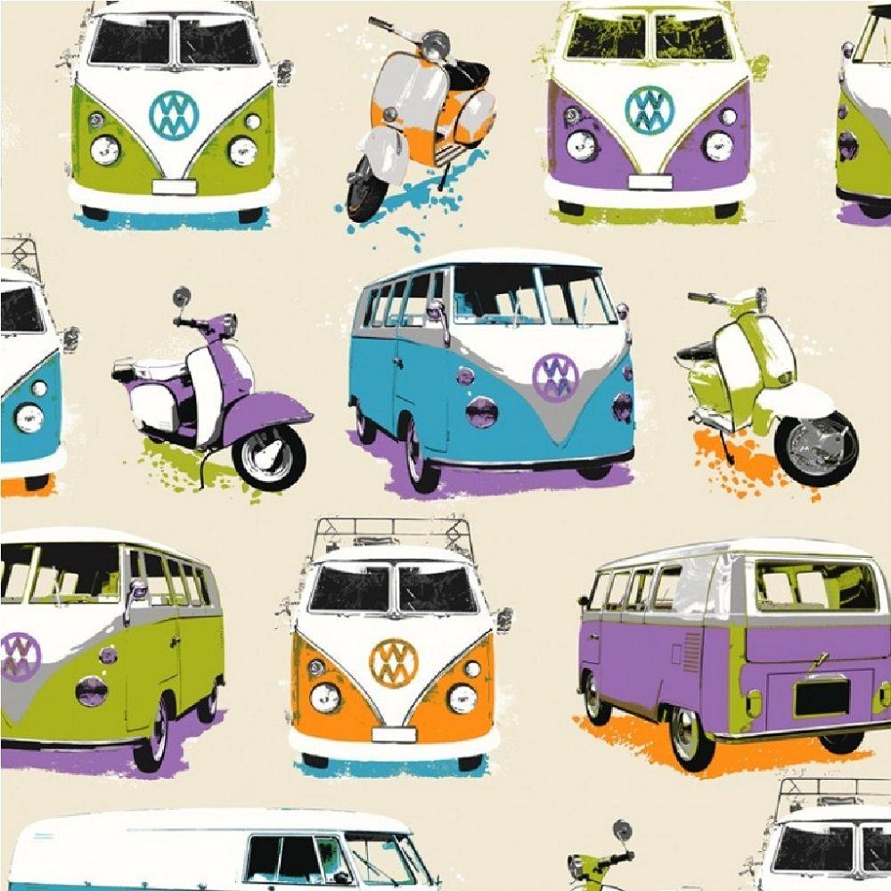 Muriva Vw Camper Vans Scooters Motif Childrens Kids Wallpaper J05901 Campervan Wallpaper Vw Campervan Vw Camper