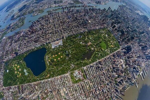 Central Park, Birds-eye view, New York.