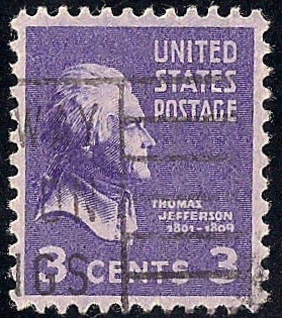 Thomas Jefferson 1938 3 Cent Stamp Violet Canceled Lots Of